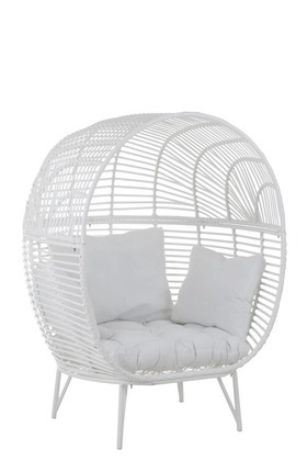 Rattan Sessel Weiss Outdoor Maritim 150x110cm