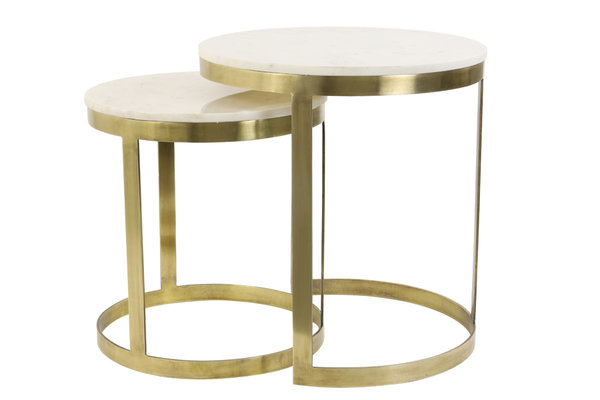 Light&Living Beistelltisch 2er Set Gold/Marmor